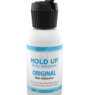 Hold Up Adhesive bottle with turret cap pour nozzle